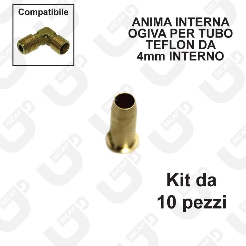 Anima interna ogiva per tubo teflon 6x4mm - Kit 10 pezzi
