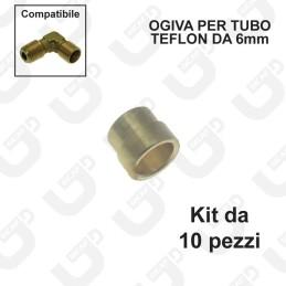 Ogiva esterna per tubo teflon 6x4mm - kit 10 pezzi